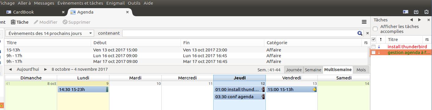 Menu de la messagerie PC Thunderbird