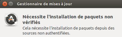 erreur affichée par le gestionnaire d'application de Ubuntu (14.04)