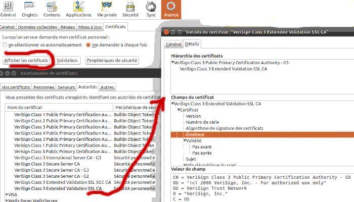 Firefox a une liste de CA (certificate authorities) intégrée