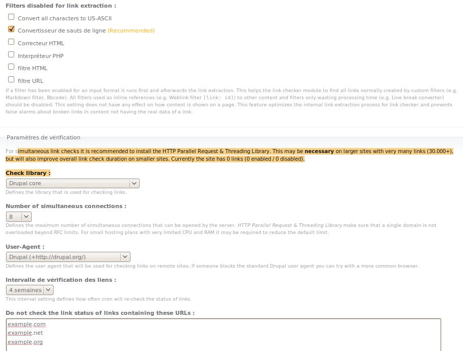 linkchecker 6.x-2.8 page de conf (bas)