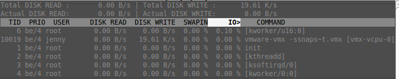 iotop affiche stats disques et process