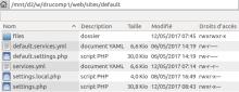 Arborescence du dossier default de drupal 8.3 (après installation)