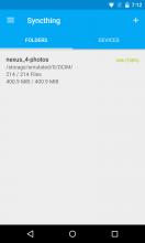 "Syncthing pour Android, écran principal ""Partages"""